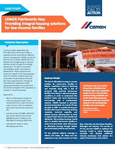 cemex and the low income construction Construmex: facilitating remote housing investments for us-based company's experience resulting from patrimonio hoy, a preceding low-income market and (cemex salespersons and construction materials' local distributors.